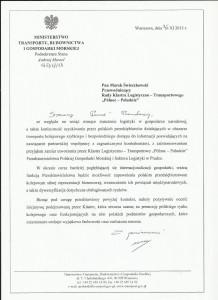 pismo Minister Transportu